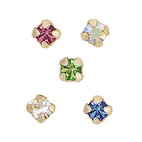 9ct Yellow Gold Box Set Of Five Mixed Crystal Nose Studs - Product number 4914090