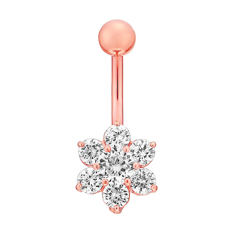 Rose Gold Plated Silver & Cubic Zirconia Flower Belly Bar - Product number 4914147