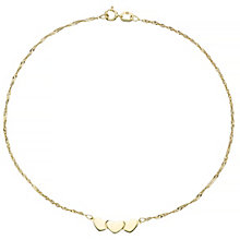 9ct Yellow Gold Heart Anklet - Product number 4914295