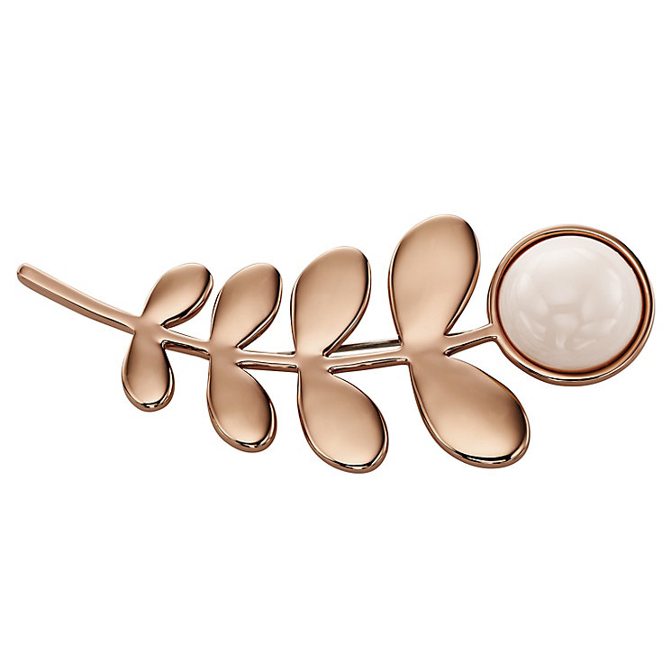 Orla Kiely Rose Gold-Plated Leaf & Stone Brooch - Product number 4917189