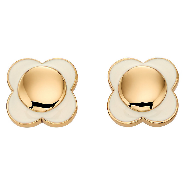 Orla Kiely Gold-Plated & Cream Flower Stud Earrings - Product number 4917243