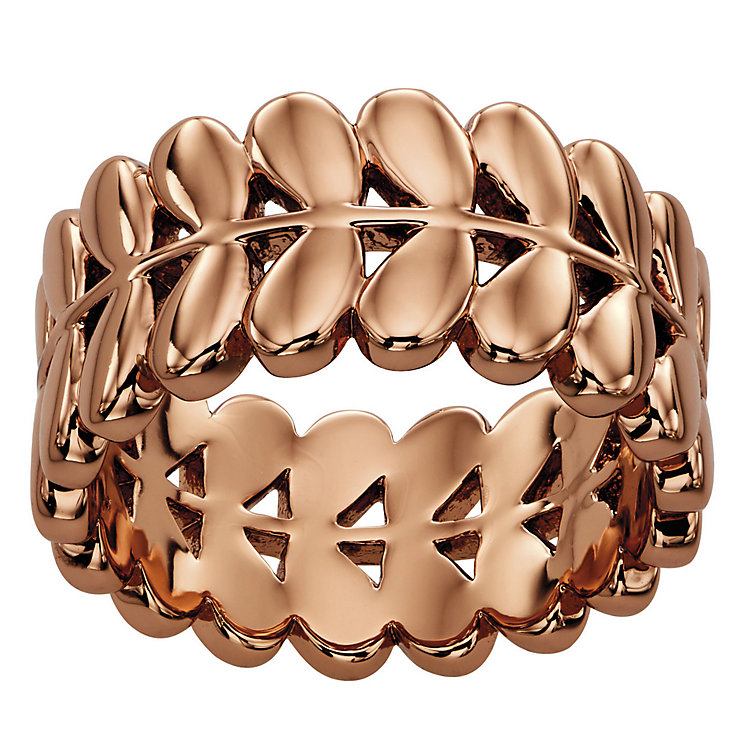 Orla Kiely Rose Gold-Plated Leaf Ring Size O 1/2 - Product number 4919076