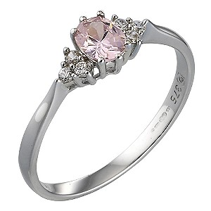 9ct White Gold Pink Cubic Zirconia Oval Ring