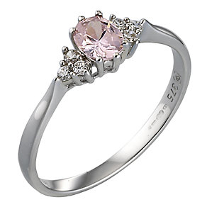 9ct White Gold Pink CZ Ring - Product number 4919599