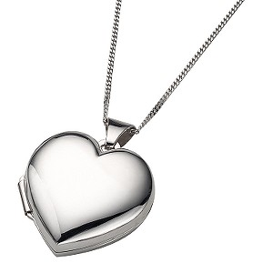 9ct White Gold Polished Heart Locket