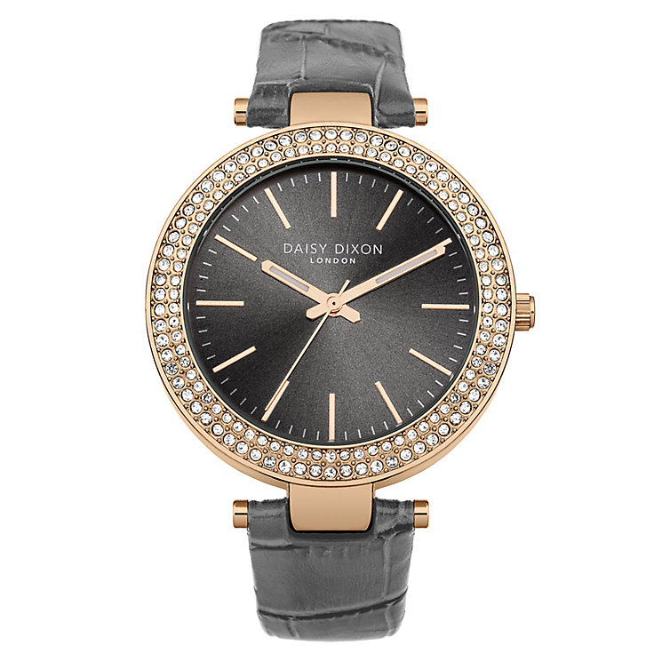 Daisy Dixon Mia Ladies' Black Dial Grey Leather Strap Watch - Product number 4921887