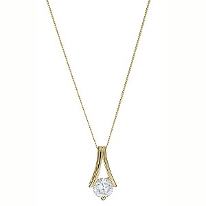 9ct Yellow Gold Round Cubic Zirconia Pendant Necklace