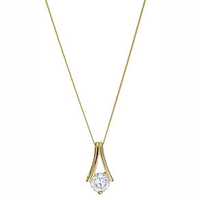 9ct Yellow Gold Round Cubic Zirconia Pendant Necklace - Product number 4922115