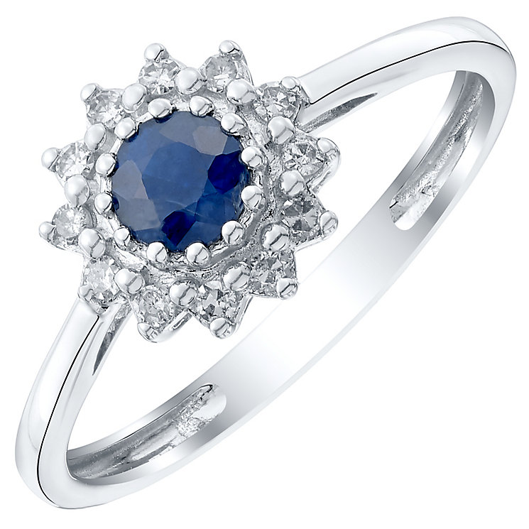 9ct White Gold Sapphire and Diamond Cluster Ring - Product number 4922697