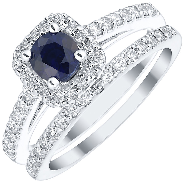 18ct White Gold 0.50ct Diamond Sapphire Bridal Set - Product number 4923383