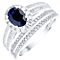 18ct White Gold Sapphire and Diamond Bridal Set - Product number 4923545