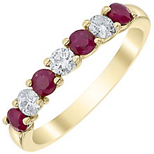 18ct Yellow Gold Ruby and Diamond Eternity Ring - Product number 4924010