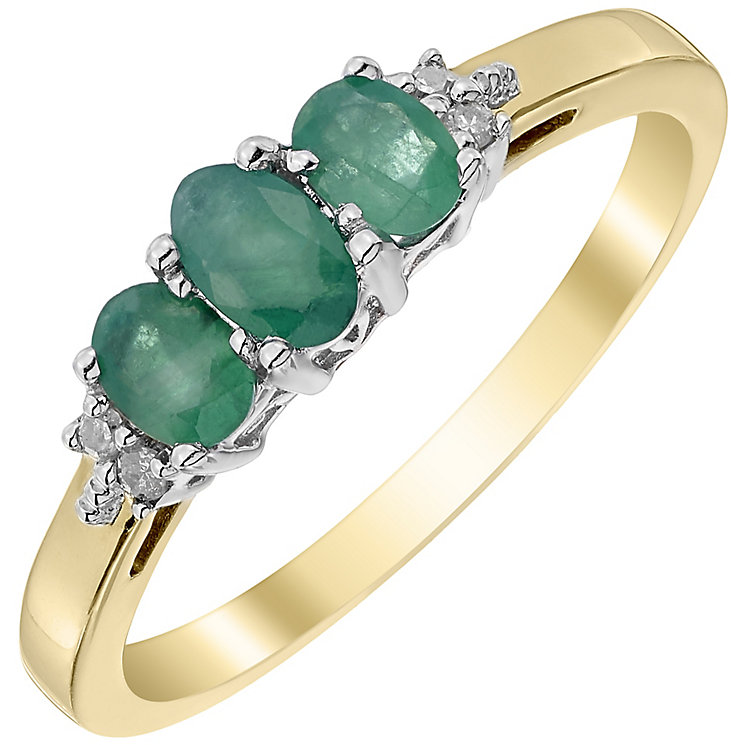 9ct Yellow Gold Emerald and Diamond 3 Stone Ring - Product number 4924452