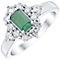 18ct White Gold Emerald and 0.50ct Diamond Ring - Product number 4924584
