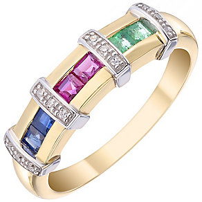 9ct Yellow Gold Multi Coloured Stones Eternity Ring - Product number 4924738