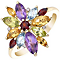 9ct Yellow Gold Multi Coloured Stones and Diamond Ring - Product number 4924878