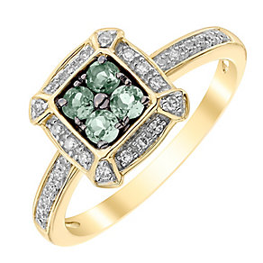 9ct Yellow Gold 0.12ct Diamond and Alexandrite Ring - Product number 4925564