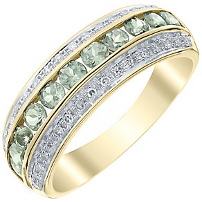 9ct Yellow Gold 0.12ct Diamond and Alexandrite Ring - Product number 4925734