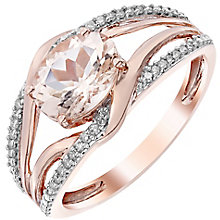 9ct Rose Gold 0.10ct Diamond and Morganite Ring - Product number 4925955