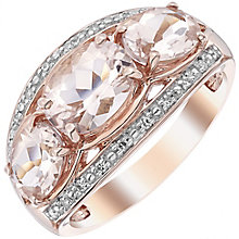 9ct Rose Gold Diamond and Morganite Ring - Product number 4926676