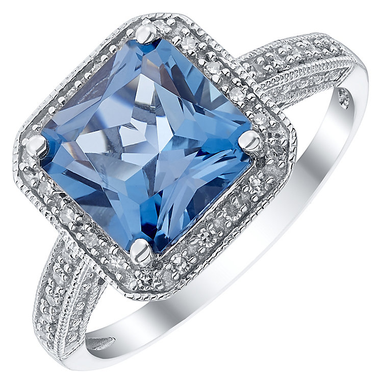 9ct White Gold 0.12ct Diamond and London Blue Topaz Ring - Product number 4926811