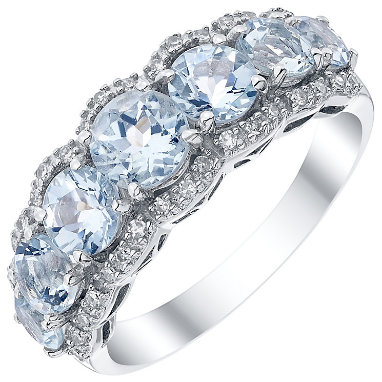 9ct White Gold Diamond and Aquamarine Ring - Product number 4926951
