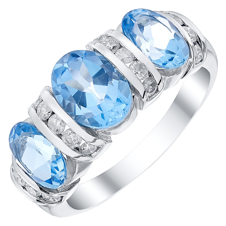 9ct White Gold 0.35ct Diamond and Swiss Blue Topaz Ring - Product number 4927109