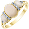 9ct Yellow Gold Diamond and Opal Ring - Product number 4927486