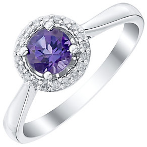 9ct White Gold Diamond and Amethyst Ring - Product number 4927818