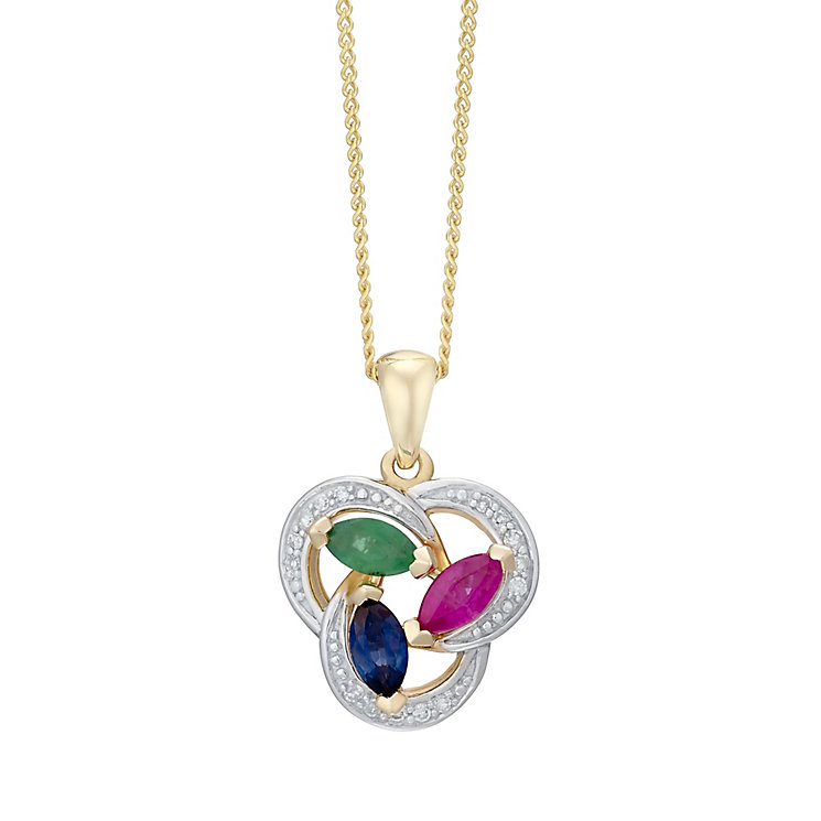 9ct Yellow Gold Multi-Stone Pendant - Product number 4928539