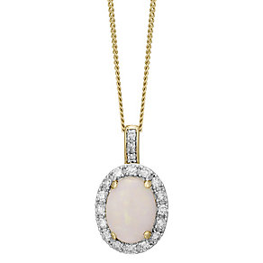 9ct Yellow Gold 0.15ct Diamond and  Opal Pendant - Product number 4928695