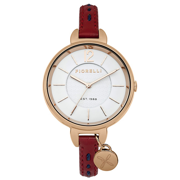 Fiorelli Ladies Red Leather Strap Watch - Product number 4928709