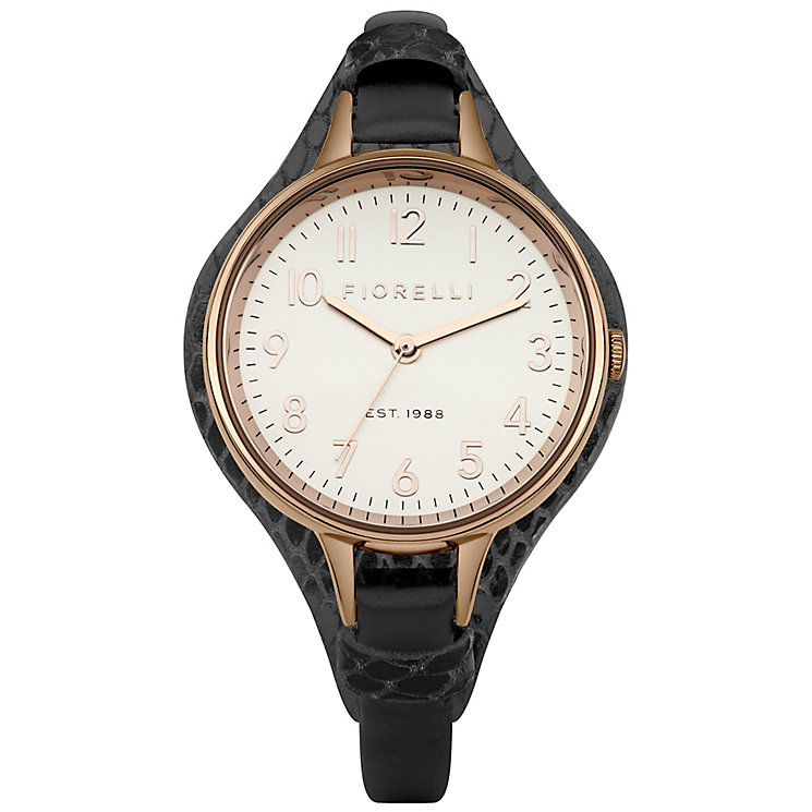 Fiorelli Ladies Black Cuff Strap Leather Watch - Product number 4928881