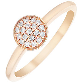 9ct Rose Gold Diamond Disc Ring - Product number 4929829