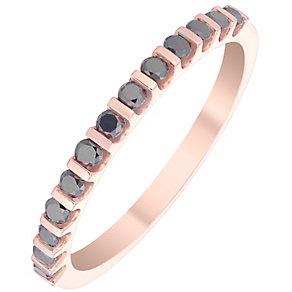 9ct Rose Gold 0.25ct Treated Black Diamond Bar Set Ring - Product number 4930355