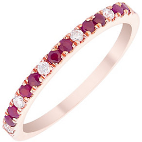 9ct Rose Gold Ruby and Diamond Ring - Product number 4931017