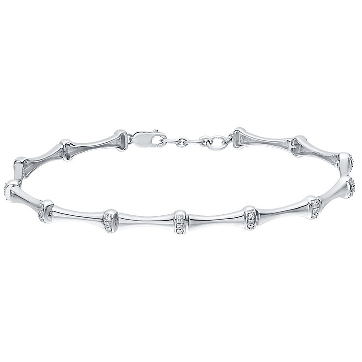 9ct White Gold 0.15ct Diamond Thin Bamboo Bracelet - Product number 4931262