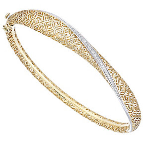 9ct Yellow Gold and Rhodium 0.10ct Diamond Filagree Bangle - Product number 4931297