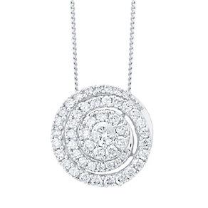 9ct White Gold 0.50ct Diamond Swirl Pendant - Product number 4931335