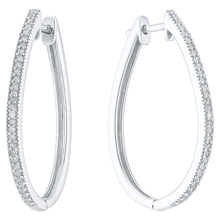 9ct White Gold 0.15ct Diamond Hoop Earrings - Product number 4931343