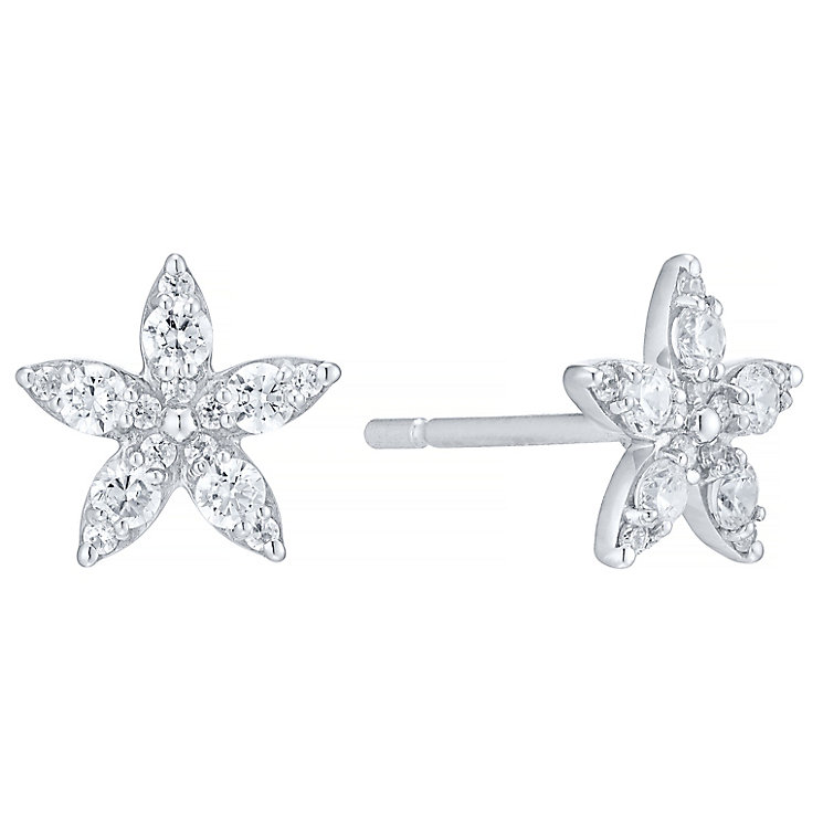 9ct White Gold 0.40ct Diamond Flower Earrings - Product number 4931378