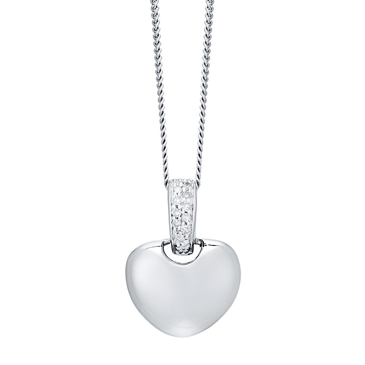 9ct White Gold Diamond Heart Pendant - Product number 4931386