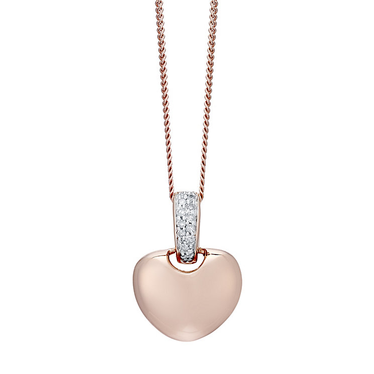 9ct Rose Gold Diamond Heart Pendant - Product number 4931394