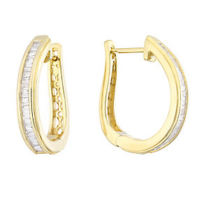 9ct Yellow Gold 0.50 Diamond Hoop Earrings - Product number 4931408