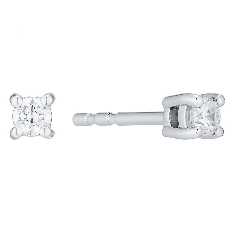18ct White Gold 0.15ct Four Claw Diamond Earrings - Product number 4931556