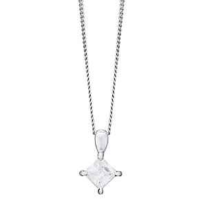 18ct White Gold 0.33ct Princess Cut Diamond Pendant - Product number 4931602