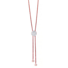 Silver Rose Tone Diamond Circle Necklace - Product number 4931955