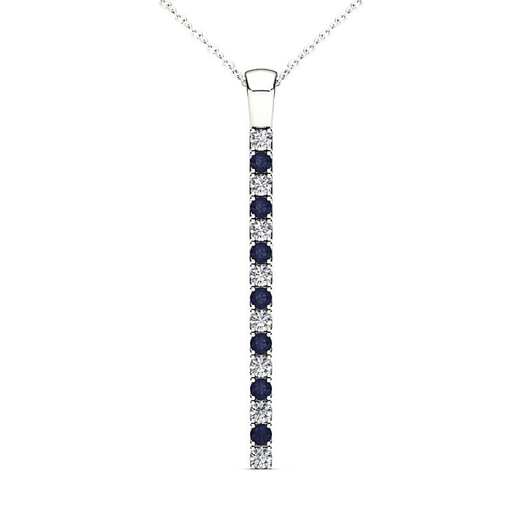 Line of Love 9ct White Gold Diamond and Sapphire Pendant - Product number 4932048