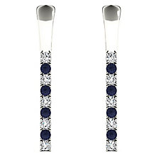 Line of Love 9ct White Gold Diamond and Sapphire Earrings - Product number 4932137