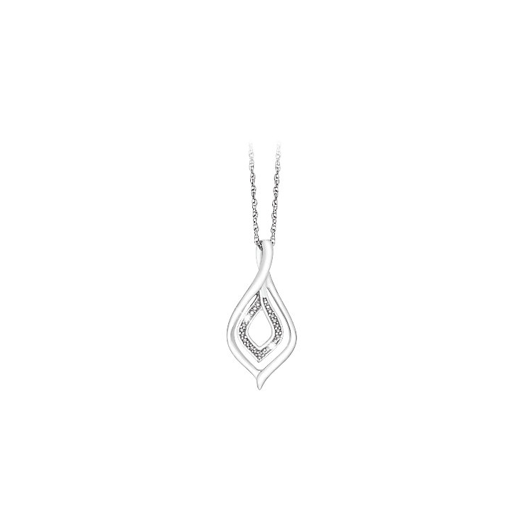 Sterling Silver & 0.03ct Diamond Twist Pendant - Product number 4933222